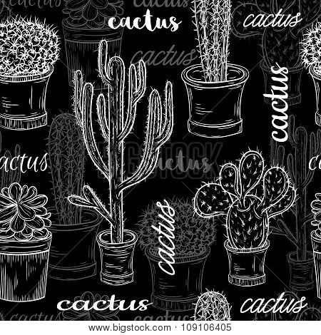 Seamless pattern with flat chalk board black and white illustration of succulent plants and cactuses