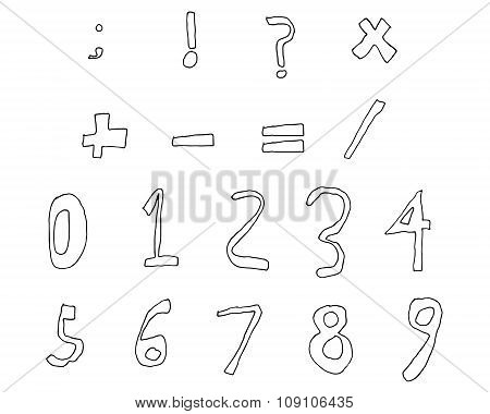 Hand Drawn Child Numbers and Basic Math Signs Line contour