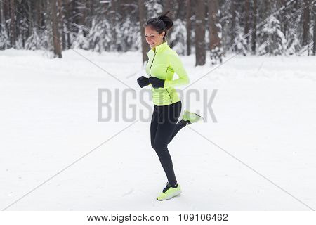 Side view of active sporty young running woman runner athlete with copy space concept sport health f