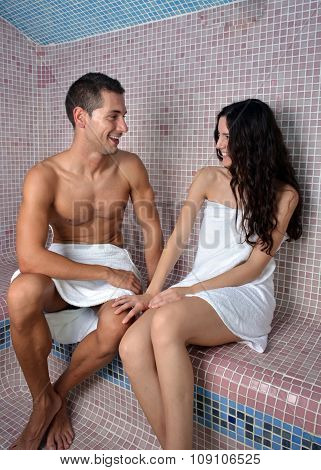 Couple Enjoying In A Turkish Bath
