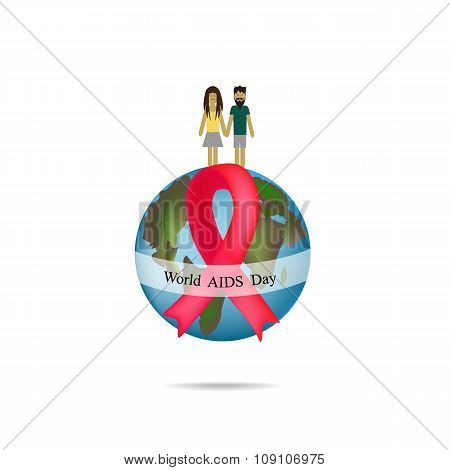 World AIDS Day. Globe with red ribbon. Man and woman holding hands. Vector illustration