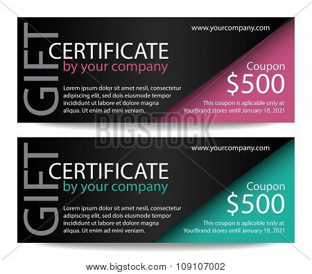 Creative Gift Certificate With Black Background And Pink And Turquoise Corner