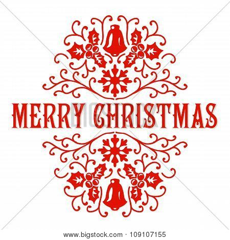 Merry Christmas lettering. Congratulations card.