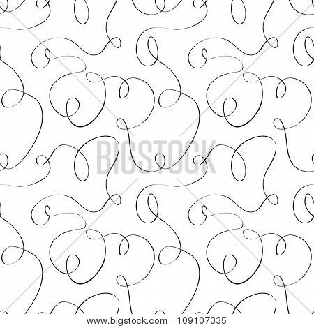 Black and white curves. Seamless pattern.