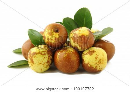 Chinese Jujubes Fruits On White Background