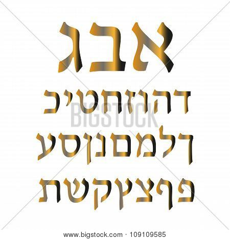 Golden Hebrew alphabet. Vector illustration
