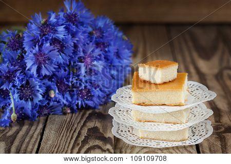 Easy dessert cottage cheese casserole, wooden background