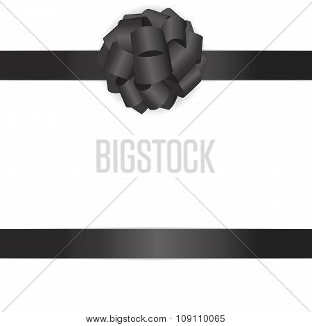 Gift Card with Black Bow and Ribbon Vector Illustration