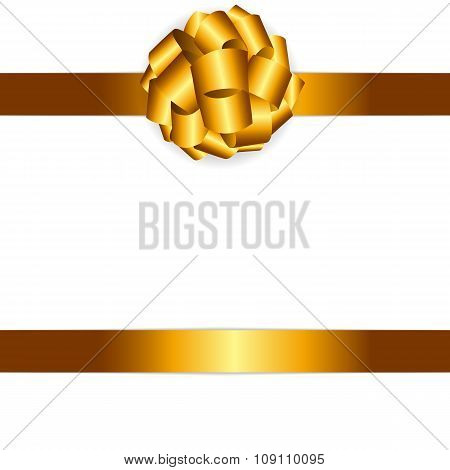 Gift Card with Golden Bow and Ribbon Vector Illustration