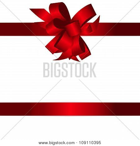Gift Card with Red Bow and Ribbon Vector Illustration