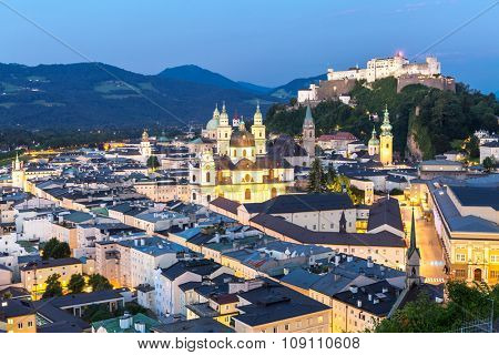 Beautiful view of the historic city of Salzburger Land, Austria at dusk
