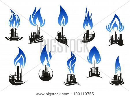 Industrial chemical plants with blue flames