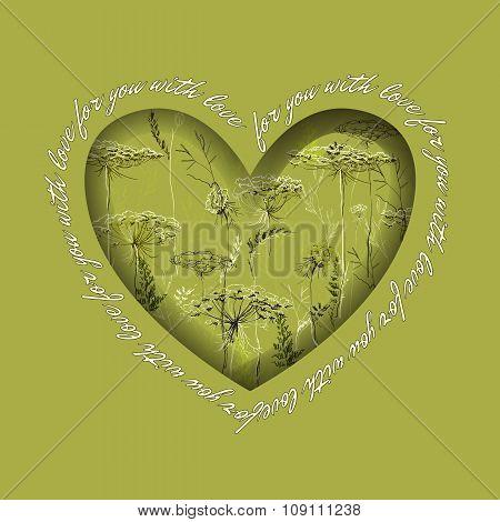Love card. Heart design with hand drawn green herbs.