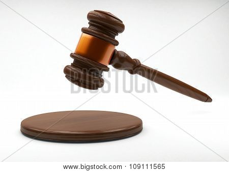 Wooden Judge Gavel And Sound Board On Gray Background.