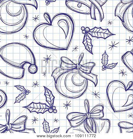 Christmas pen doodles seamless pattern