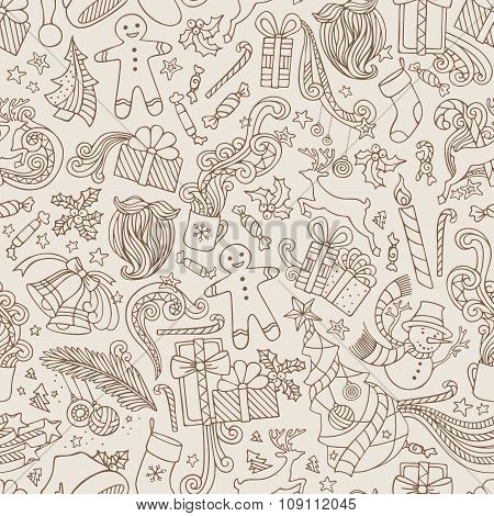 Vintage Seamless Doodles Christmas Pattern.