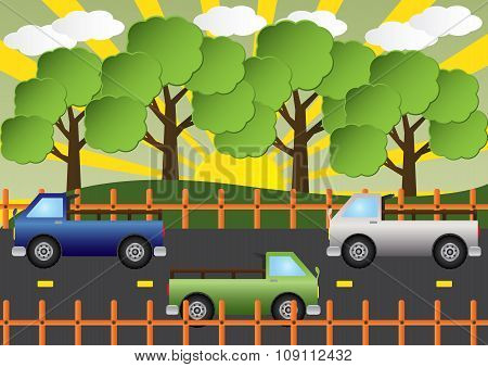 Truck Car On Country Road Beautiful Landscape. Vector Illustration.