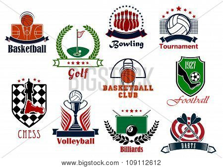 Individual and team sport games icons set