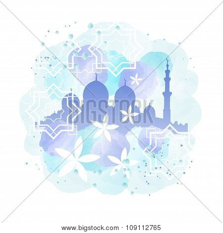 Mosque Silhouette And Arabesque Painting