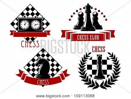 Chess game sport emblems and icons