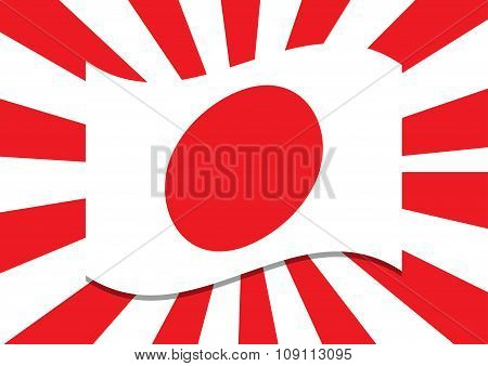 Japan Flag With Shadow On Red Sun Rays In Background. Vector Illustration