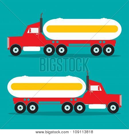 Red Heavy Oil Truck With Chemical Tank Black Color. Vector Illustration.