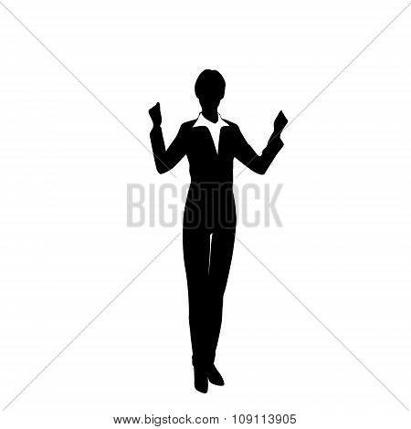 Business Woman Silhouette Excited Hold Hands Up Raised Arms, Businesswoman Full Length
