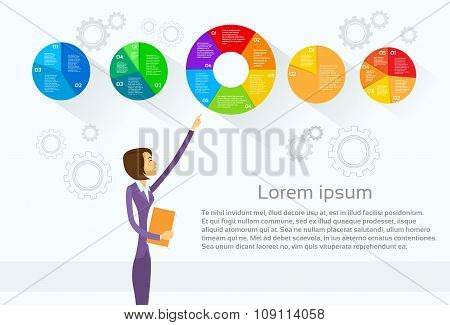 Business Woman Showing Pie Diagram Infographic