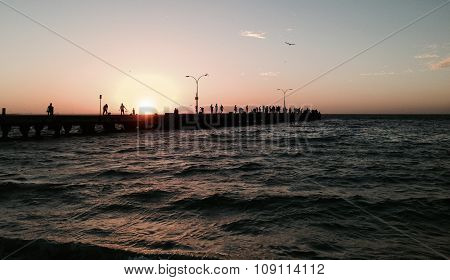 Jetty Silhouette at Sunset