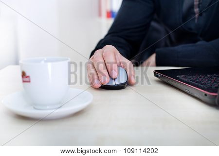 Male Hand On Computer Wireless Mouse