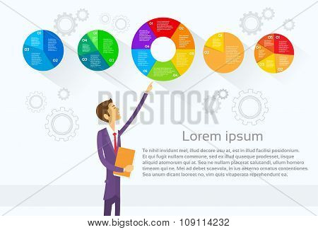 Business Man Showing Pie Diagram Infographic