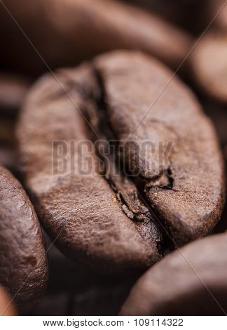 Closeup of coffee beans with focus on one, macro
