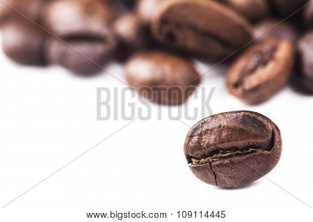 Rosted brown coffee beans lying on white background, selective focus