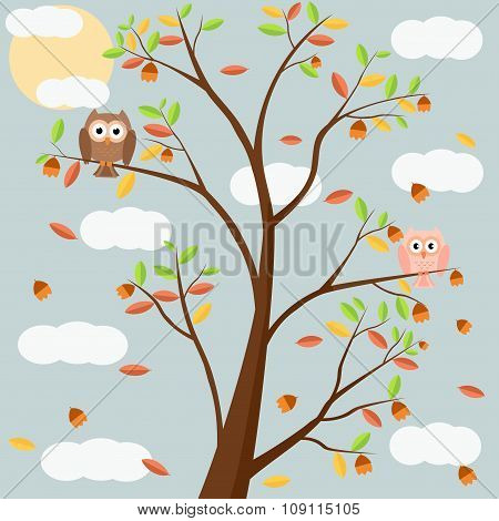 Owls on tree in autumn season and leef fall in night. Vector illustration flat design.