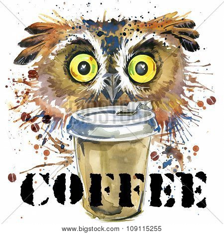 owl T-shirt graphics. coffee and owl illustration with splash watercolor textured background. unusua