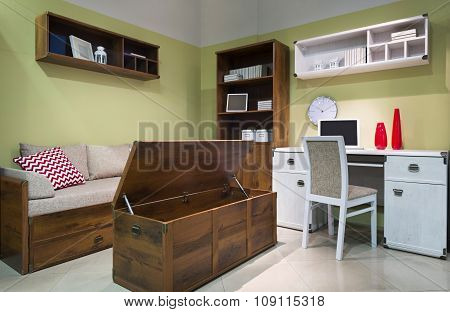 Interior Of Student (teenager) Room In The Evening With Opened Box For Bedding - Back To School