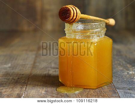 Honey In A Glass Jar.