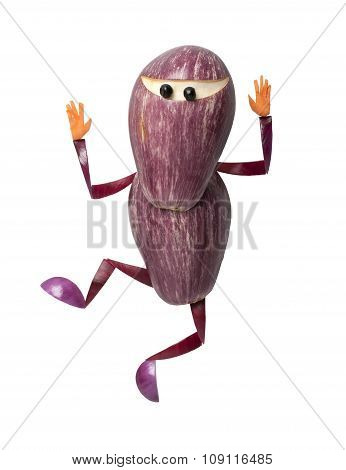 Eggplant Ninja In Funny Pose On Isolated Background