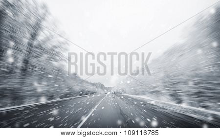 Blurred winter asphalt  road