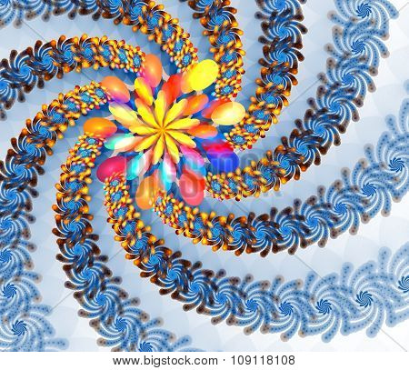 Blue star fire. Fractal background