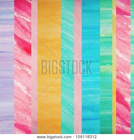 Watercolor Design Element. Striped Background.