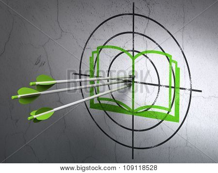Science concept: arrows in Book target on wall background