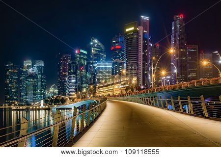 Singapore downtown night view