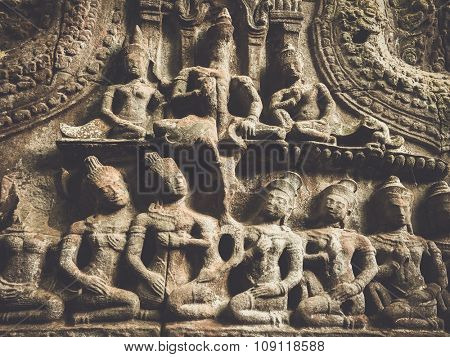 Sculpture relief of Ta Prohm in Angkor, Siem Reap, Cambodia