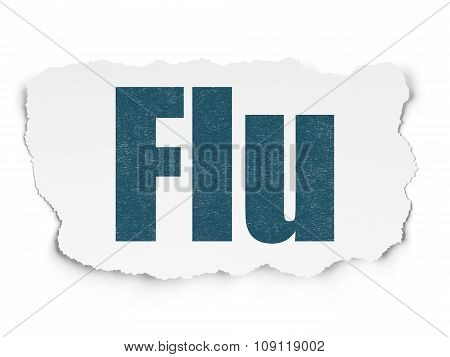 Healthcare concept: Flu on Torn Paper background