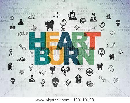 Healthcare concept: Heartburn on Digital Paper background