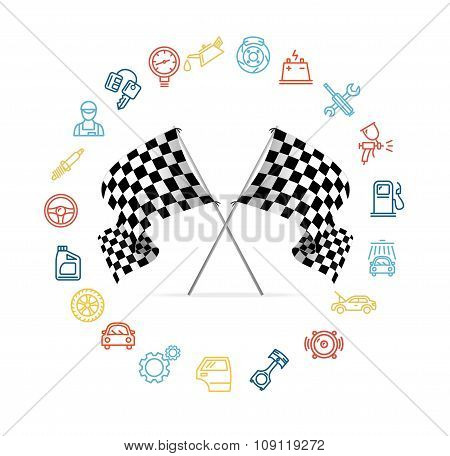Car Icon Set and Checkered Flags Motor Racing. Vector
