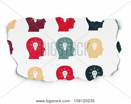 Marketing concept: Head With Light Bulb icons on Torn Paper background