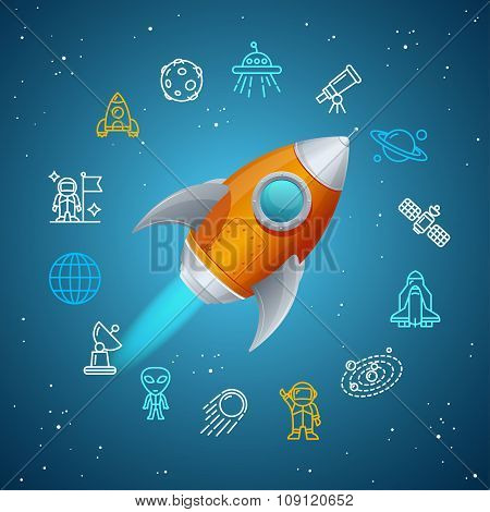 Rovet and Space Icon Concept. Vector