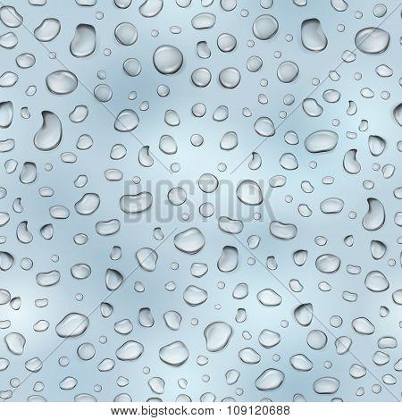 Light Blue Seamless Pattern Of Water Drops